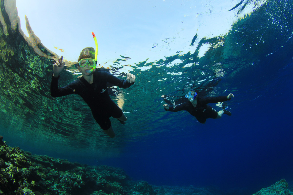 Photograph of Helen and Shelley scuba diving in Egypt