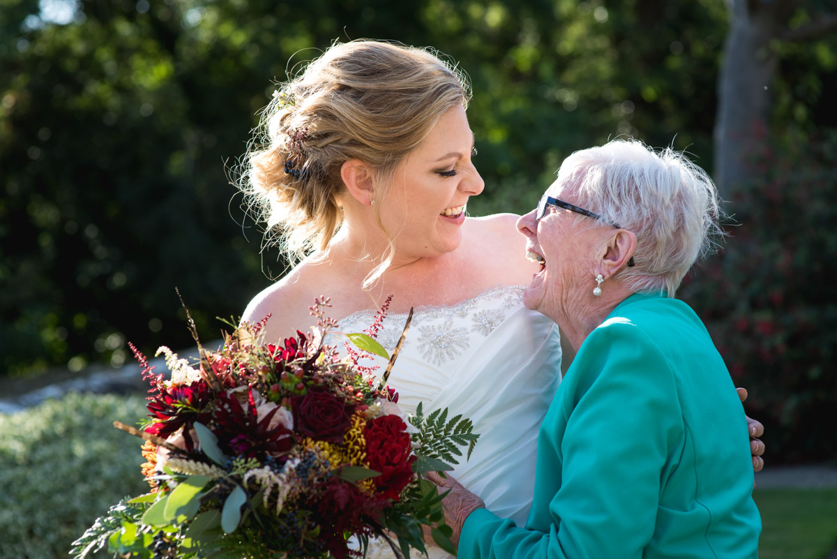 Photograph of Lianne and her gran in the gardens at Lympne Castle in Kent