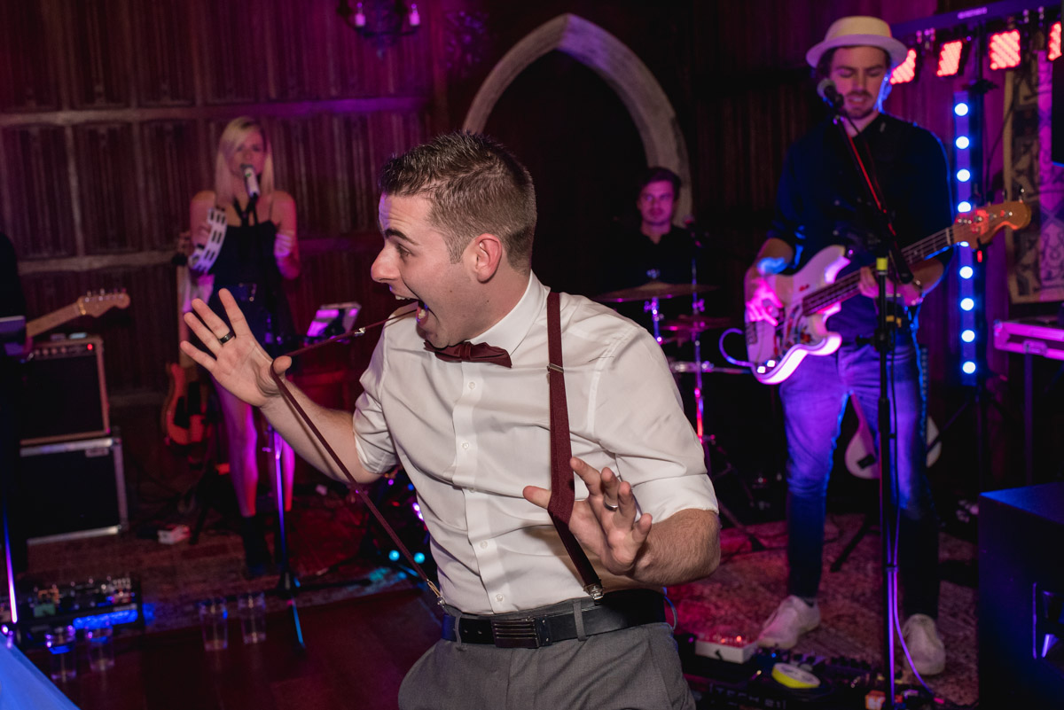 Lianas brother on the dance floor at his sisters wedding at Lympne Castle in Kent
