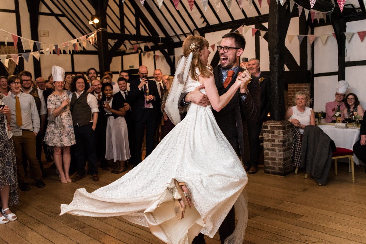 Paul and Laura dance at their Kent wedding