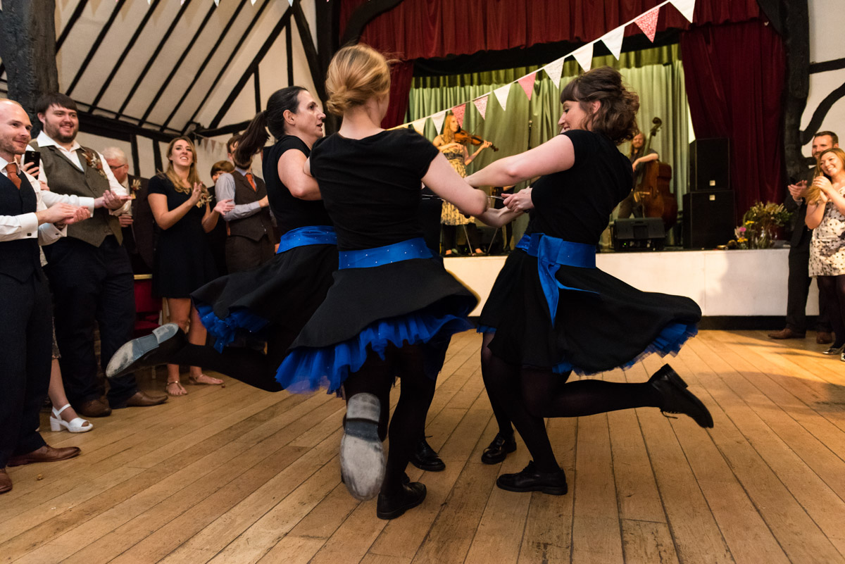 dancers perform at Kent wedding at Chilham Village Hall