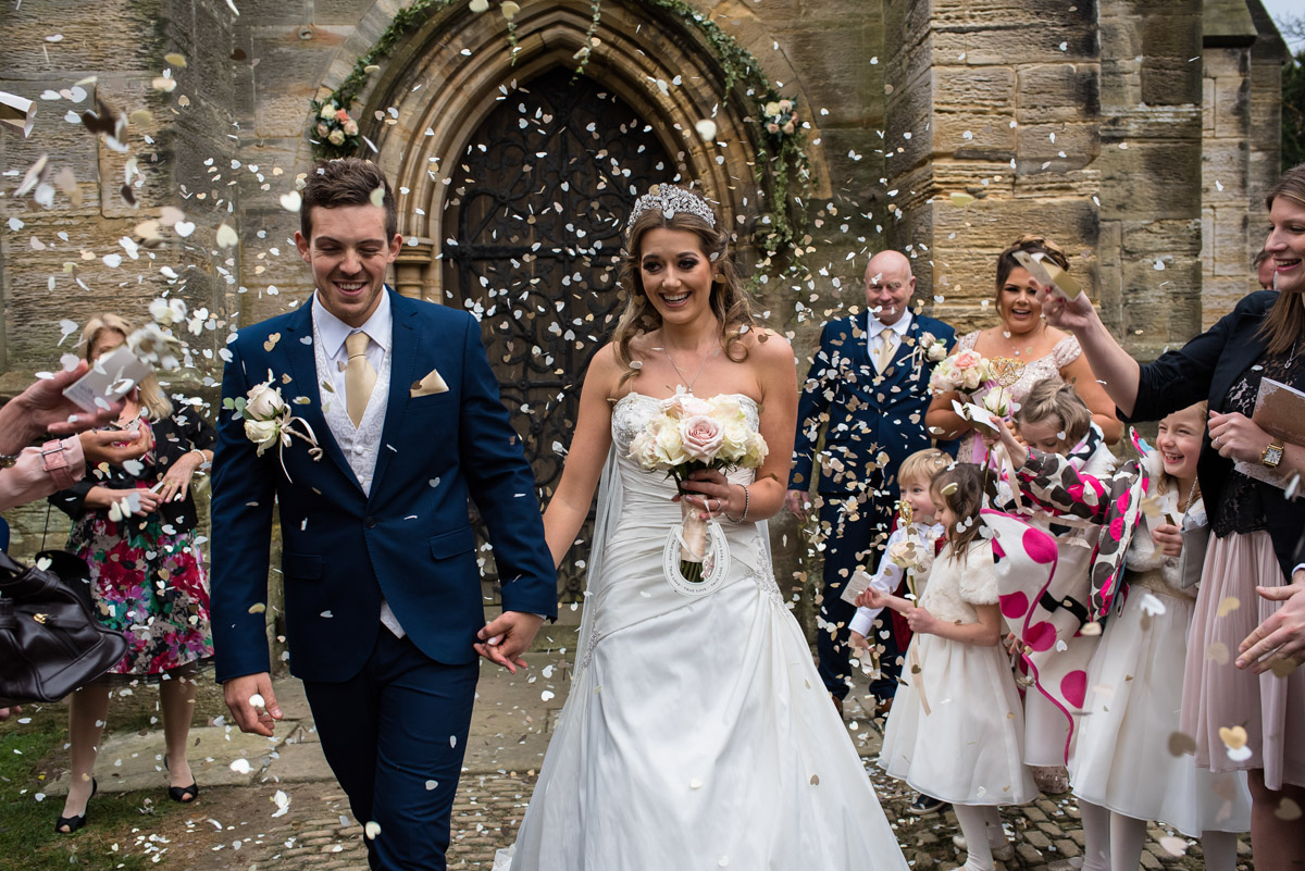Confetti wedding photograph with Jade and Stuart after their Kilndown church wedding in Kent