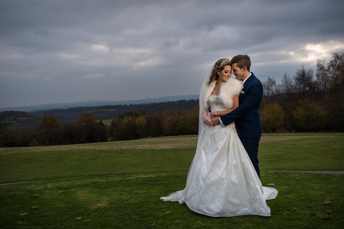 Photograph of Jade and Stuart on Dale Hill Golf course at their wedding reception