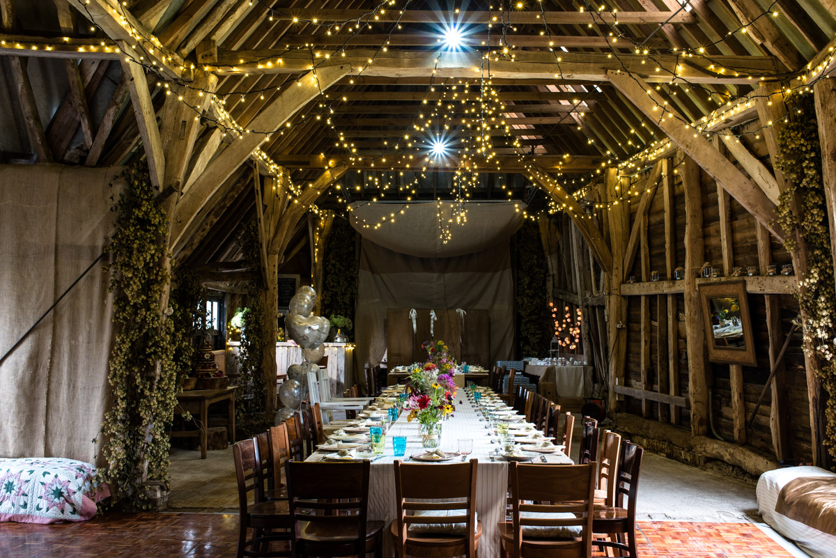 Kent barn decorated for wedding of Steven and Jane