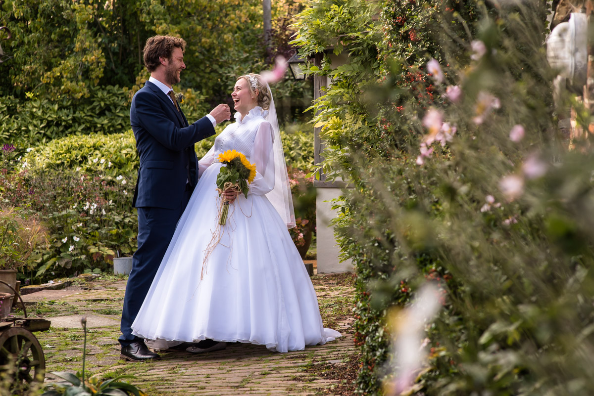 Photograph of Steven and Jane in the gardens on their wedding day