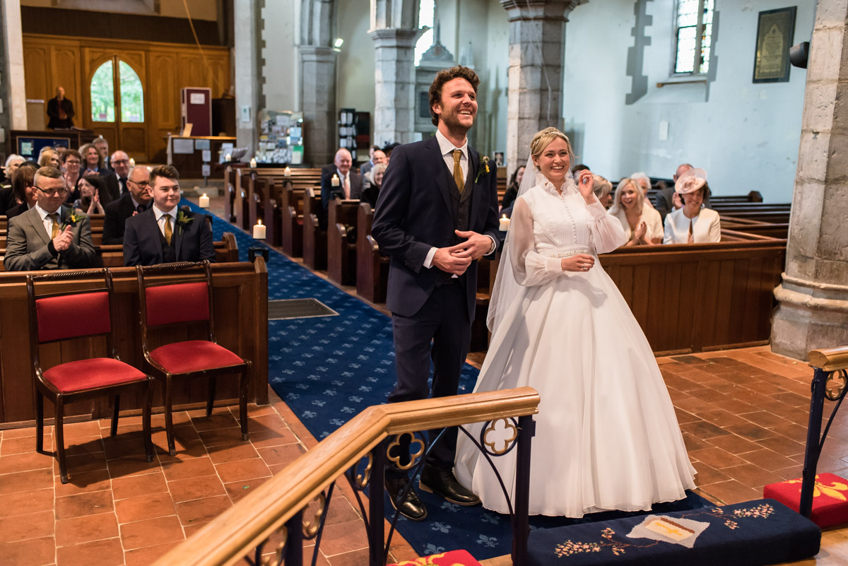 Jane and Steven photographed during their chilham church wedding ceremony