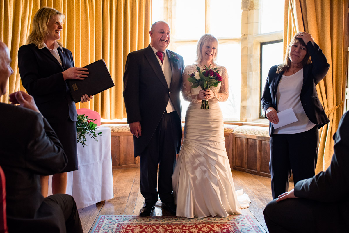 Announcing Sue and Nick after their wedding at Lympne castle in Kent