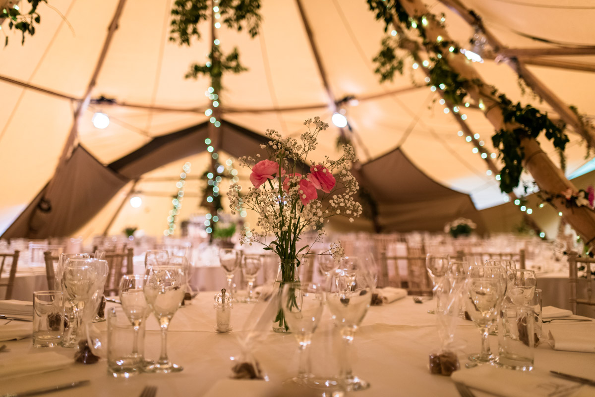 Photograph of tables in tipi reception venue