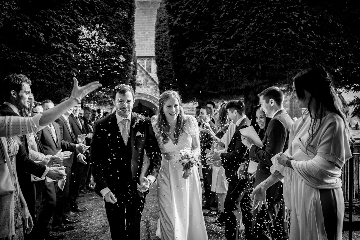 Benchley church wedding photography of confetti