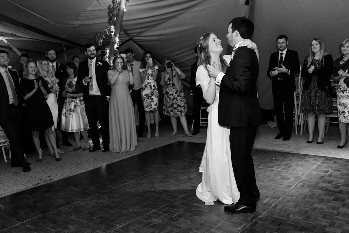 Black and white photograph of James and Flora during wedding first dance