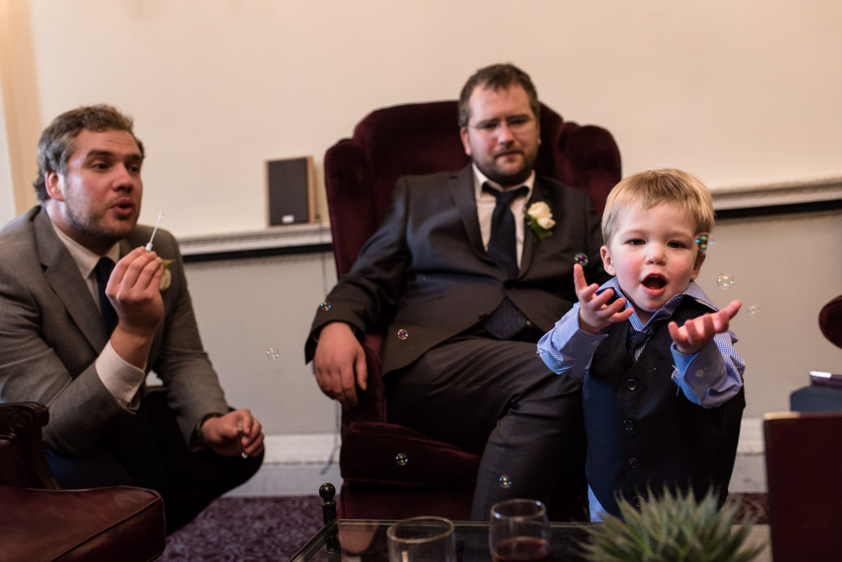 Photograph of wedding guests at Joe and Bennets Buxted Park Hotel wedding