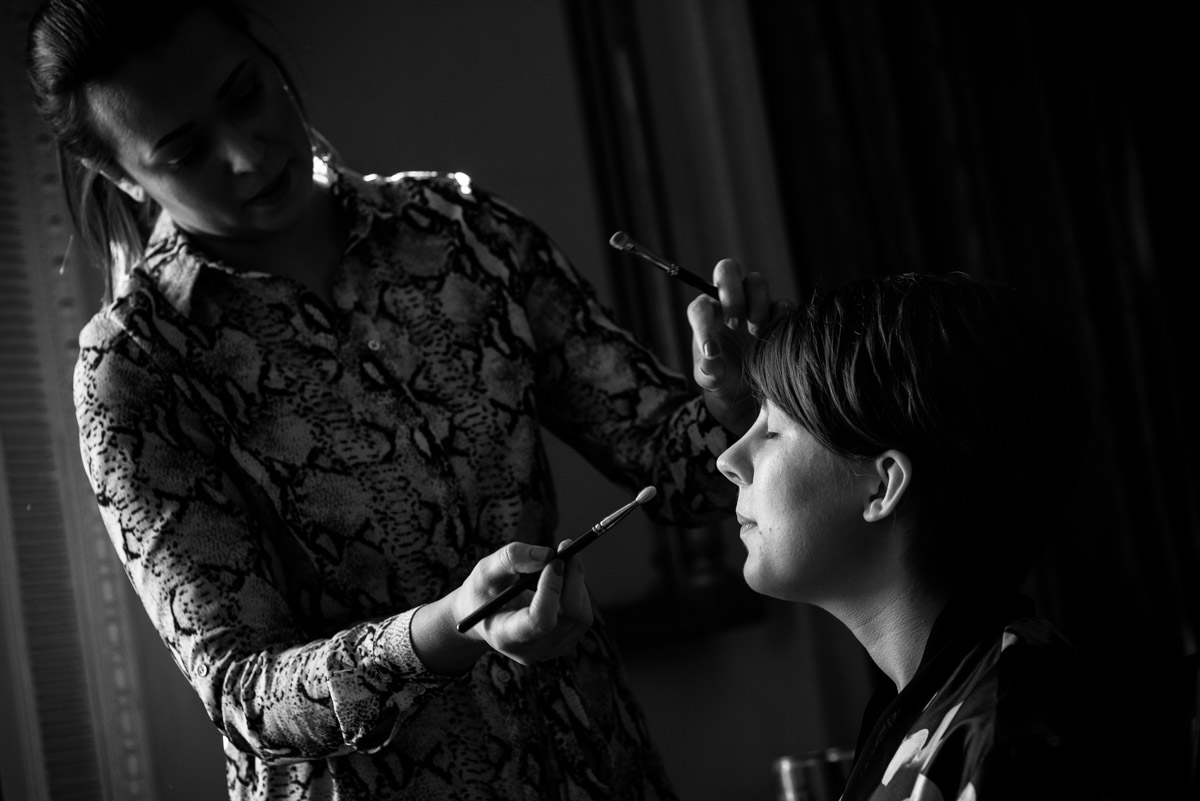Bennet photographed having her wedding make up applied at Buxted Park Hotel