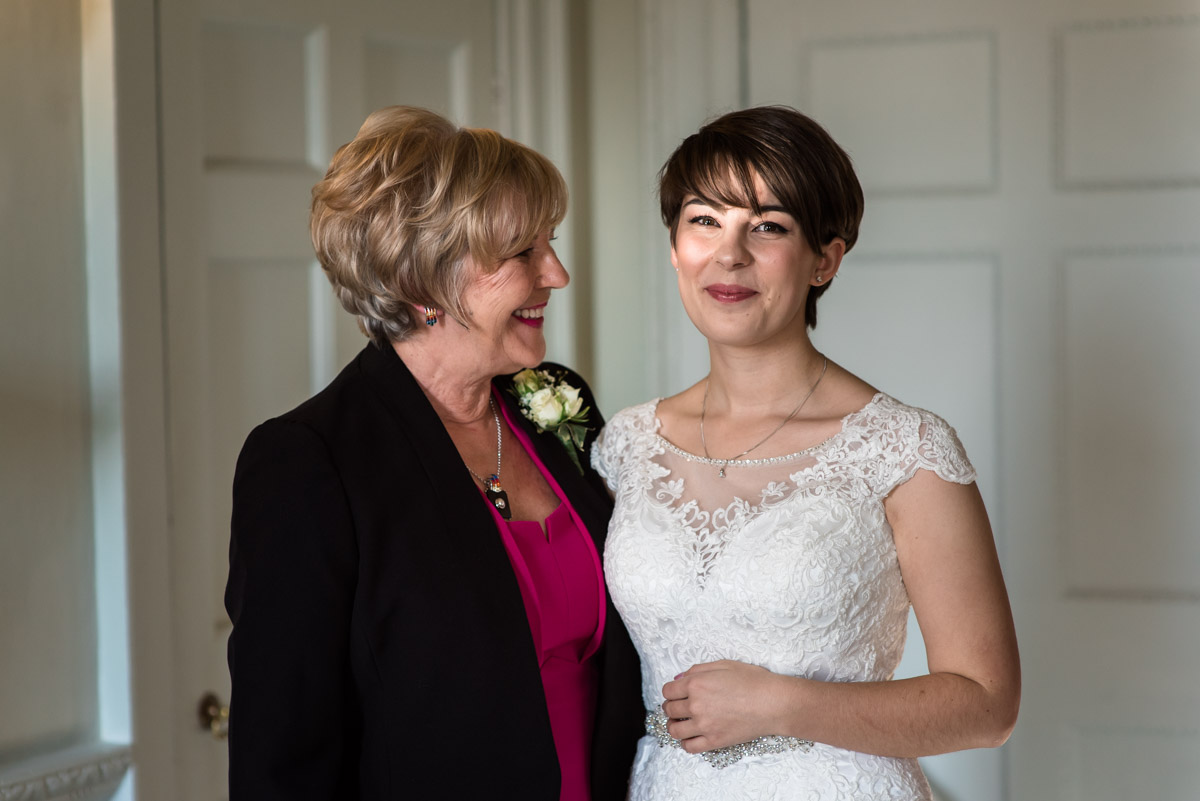 Photograph of mum and daughter at Buxted Park Hotel before wedding ceremony