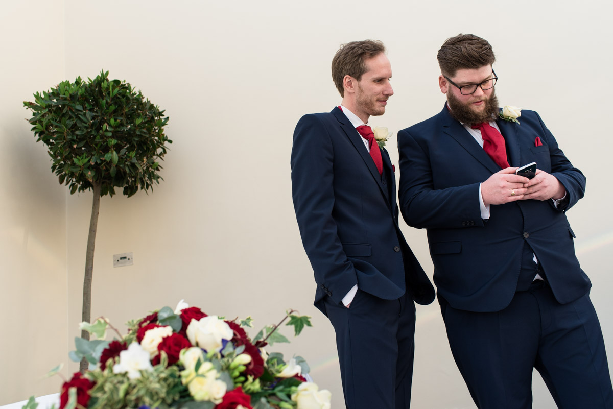 Joe and Best man photographed at Buxted park Hotel