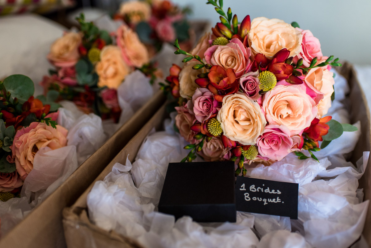 Photograph of Beth and her bridesmaids wedding bouquets