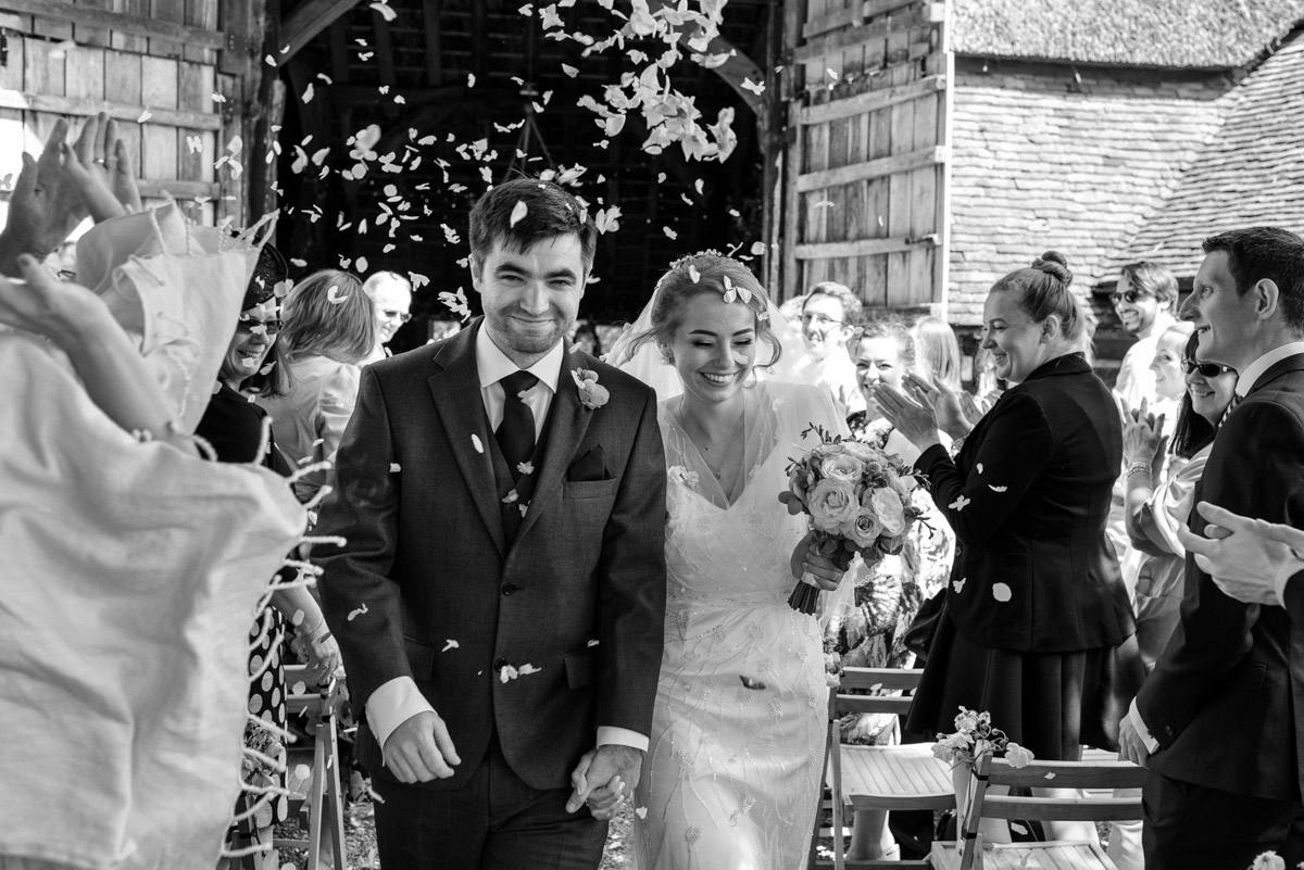 Photograph of Tom and Beths confetti throw after their wedding at Ratsbury Barn