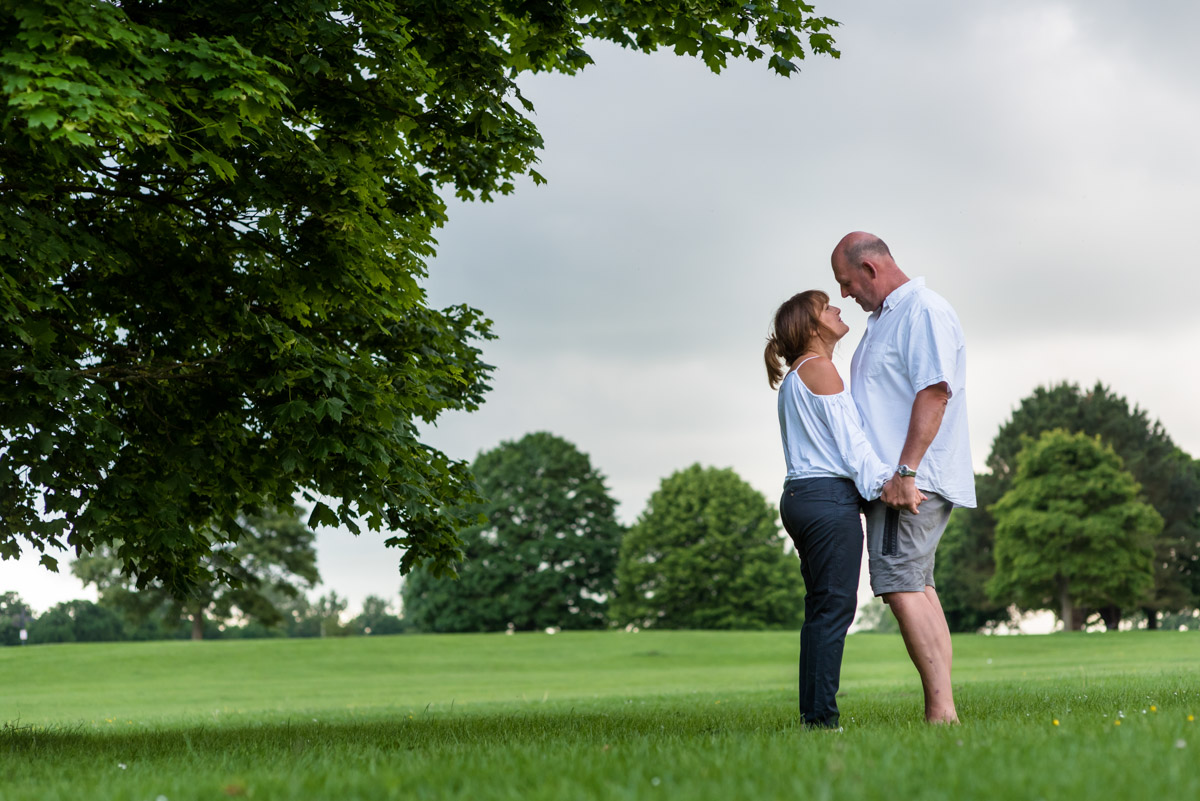 Photograph of Debbie & Martin at Moat park during their pre wedding photography session