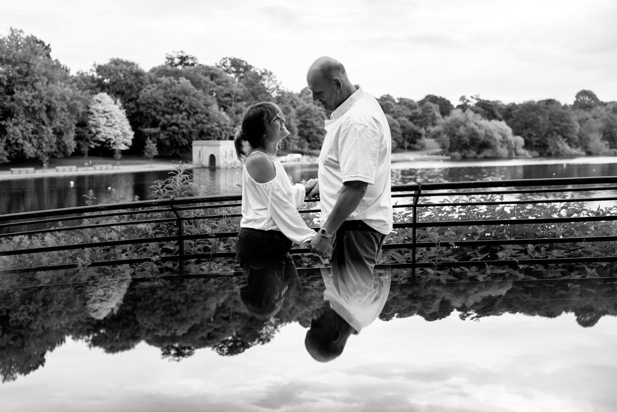 A photograph of Debbie and Martin opposite Moat parks lake in kent