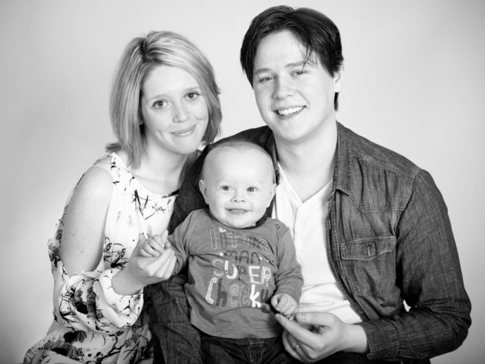 Leon, Vicky and Dean photographed in Kent studio as a family portrait