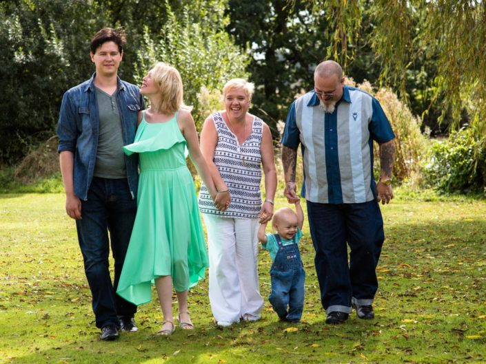 Outdoor portrait photography of Vicky and her family taken in Kent garden