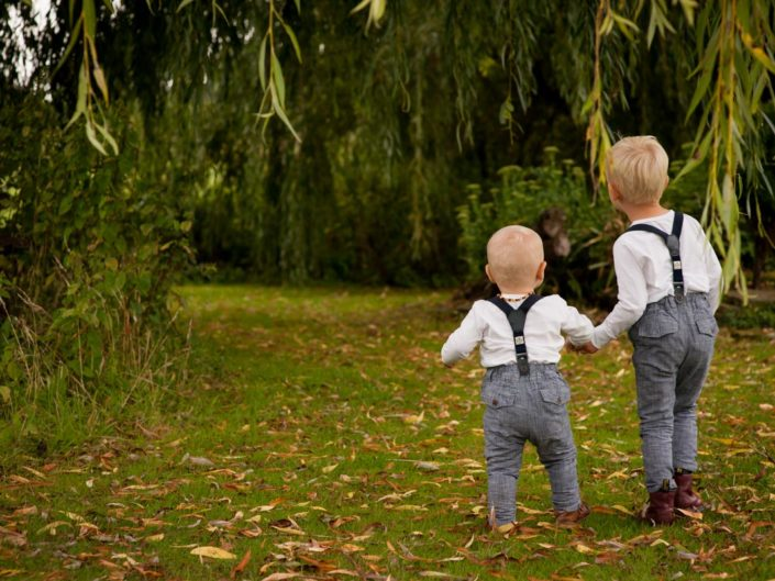 Outdoor portrait photograph of two small boys in Kent garden