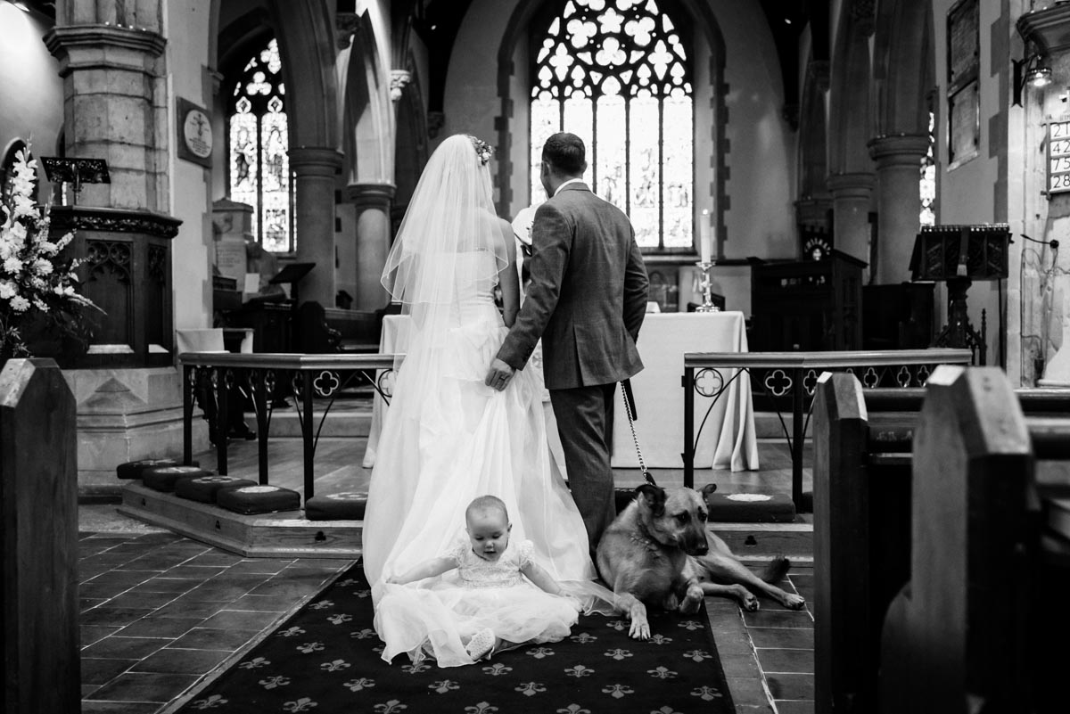 Kent church wedding, baby and dog attending
