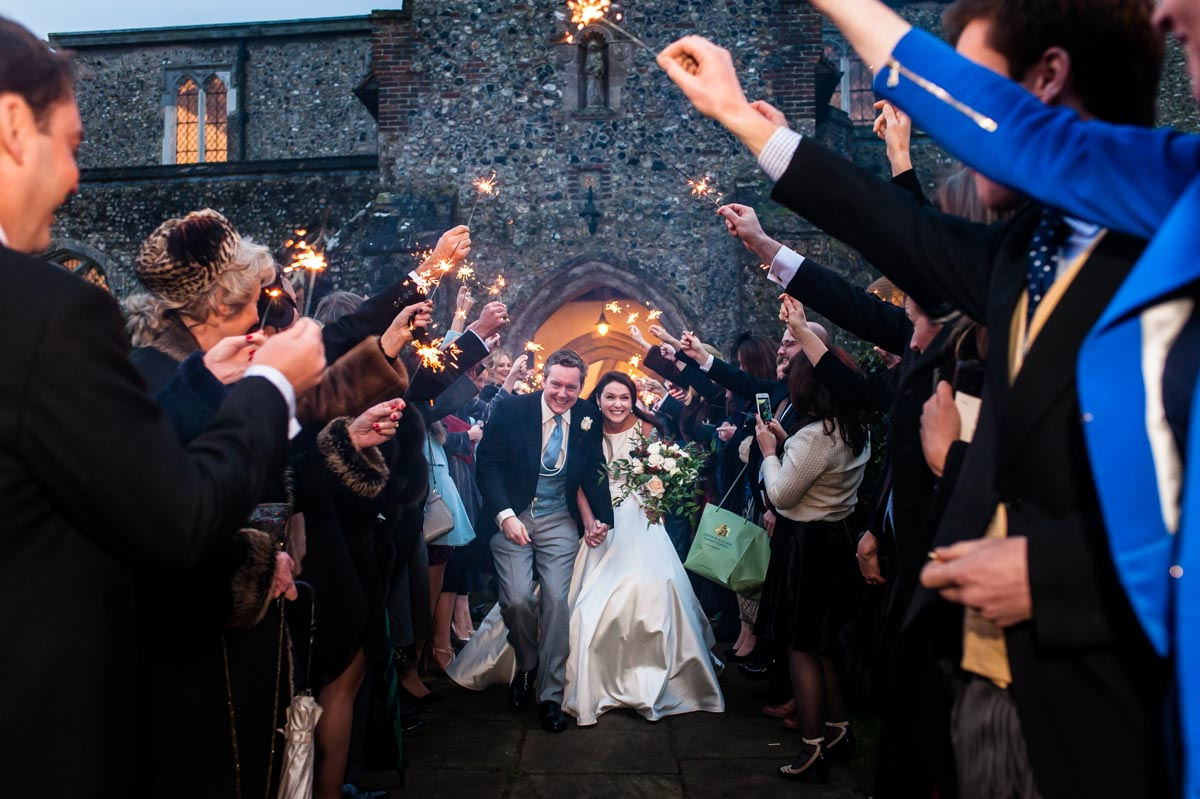 Kent winter wedding photography and sparklers