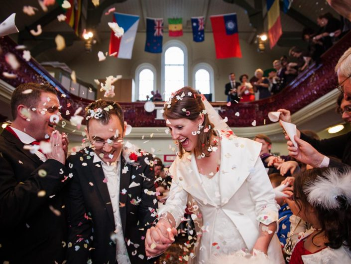 Documentary style wedding photography, Rachel and Mikes wedding confetti photo