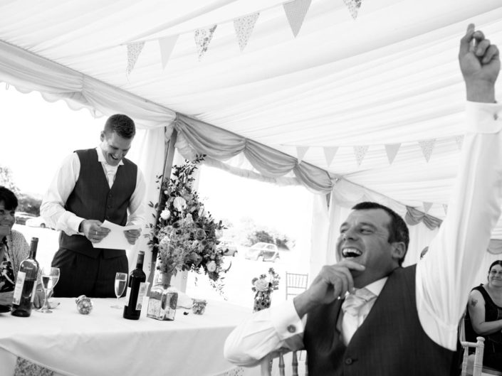 Photographing the speeches at Kif and Beckys Kent wedding