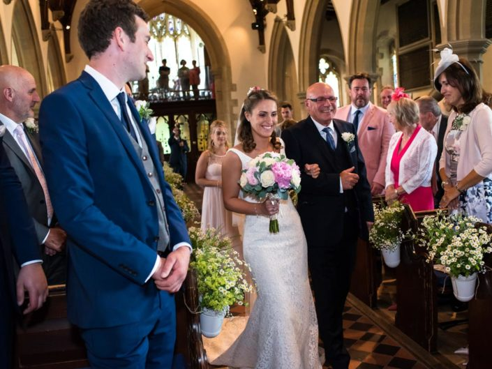 Kent church wedding, bride and father