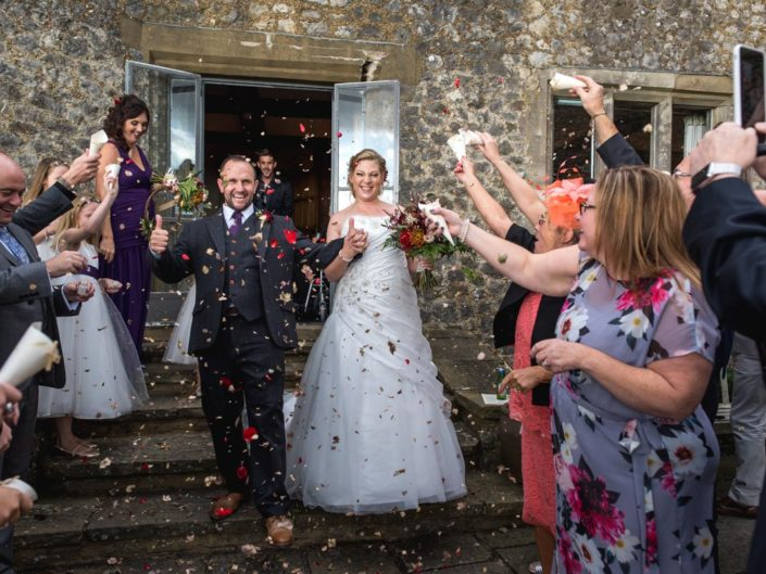 Lianne and Johns confetti photograph at their Lympne castle wedding