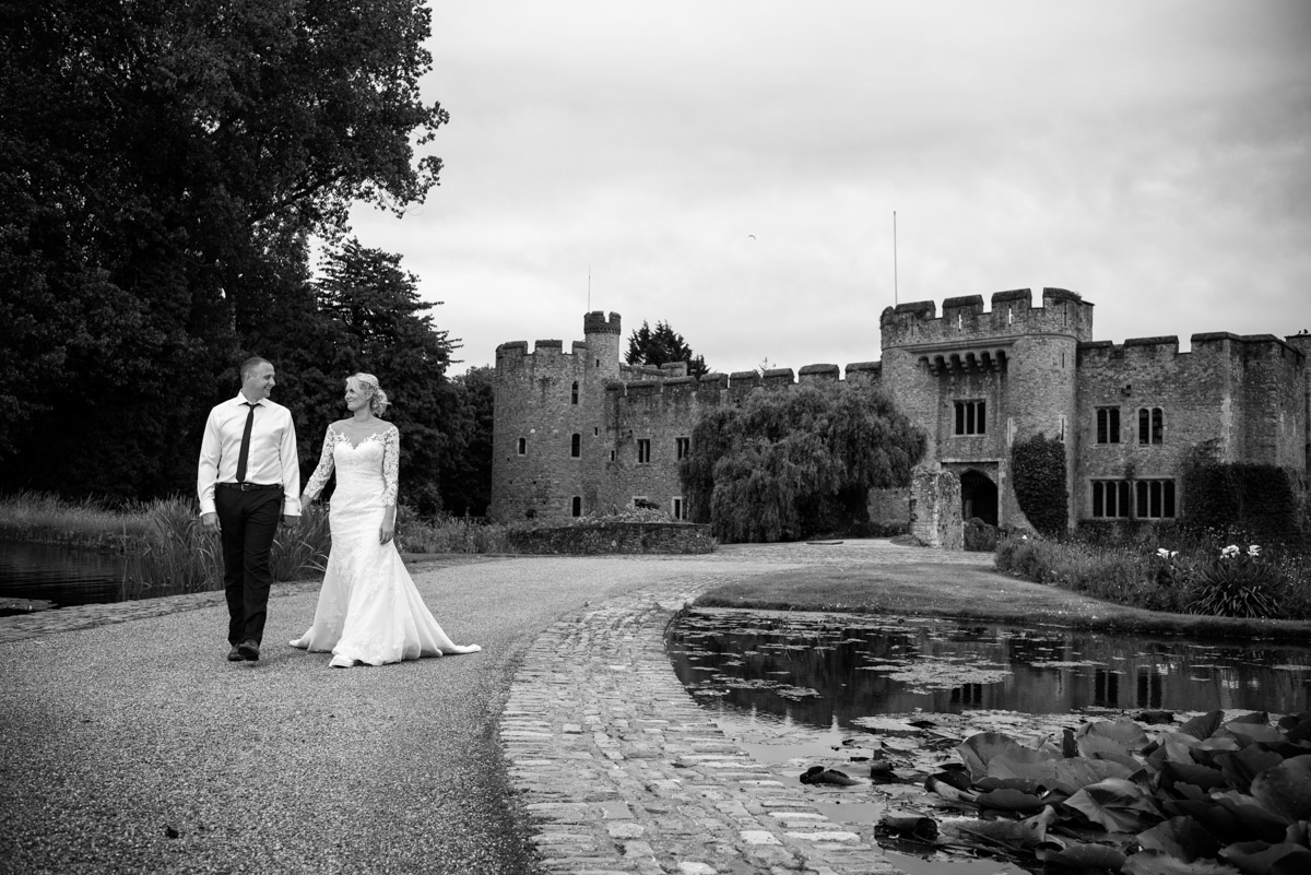 Photograph of Paul and Lexy outside Allington Castle on their wedding day