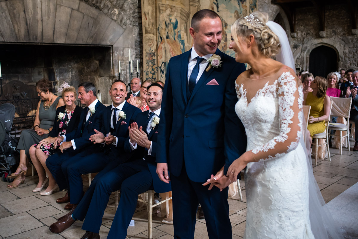 Lexy and Paul photographed during their Kent wedding at Allington Castle