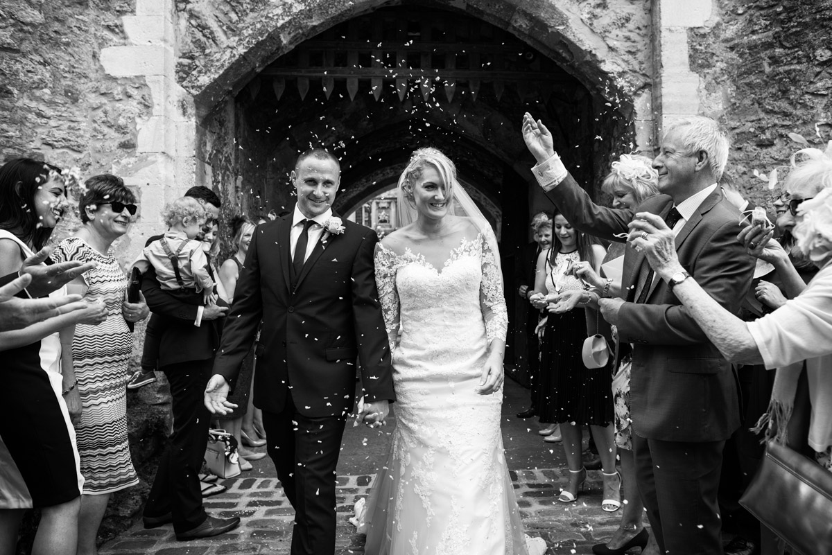 Confetti photograph of Paul and Lexy on their wedding day
