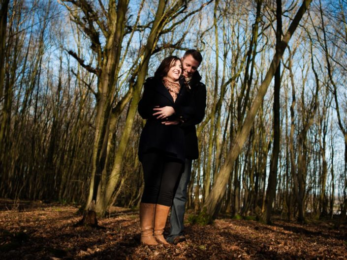 Pre wedding photograph of Natalie and Duncan in Fridd Farm woods, Kent