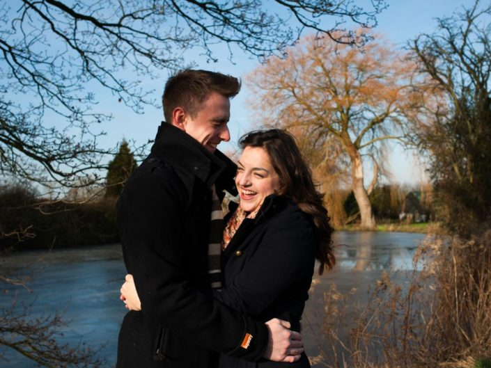 Pre wedding photography taken in January of Natalie and Duncan at fried Farm in Kent