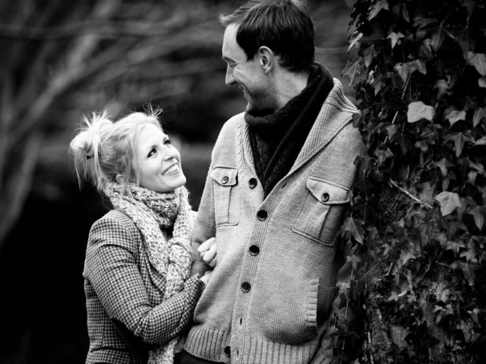 Black and white photograph of Rob and Emily at their engagement photography shoot in Harrietsham, Kent