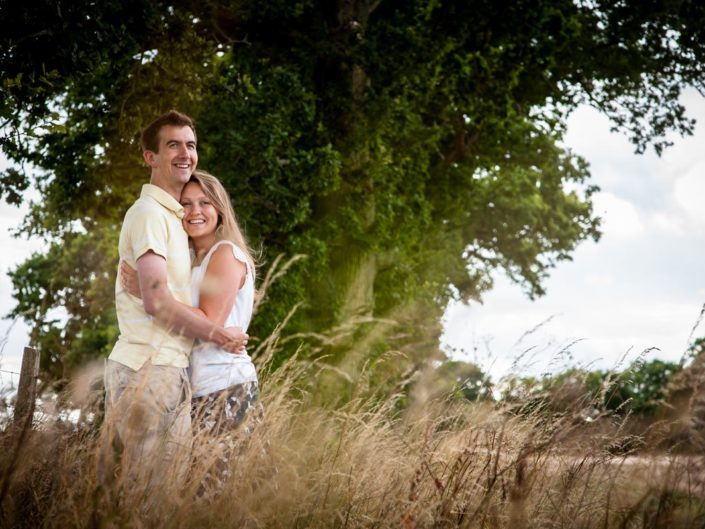 Abigail and Peter are photographed in the fields at Kent farm during their pre wedding photography session