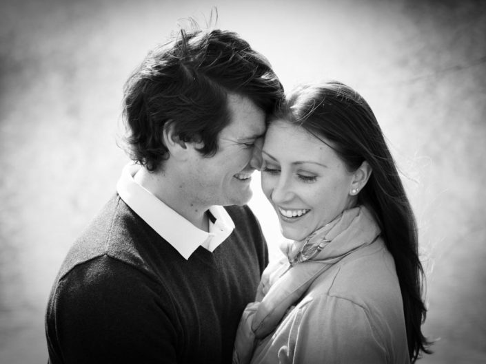 Black and white portrait of Warrick and Bronwyn during their pre wedding photo session at Fridd Farm in Kent