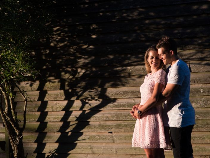 Photograph of Stuart and Jade during their evening pre wedding photoshoot at Fridd Farm in Kent