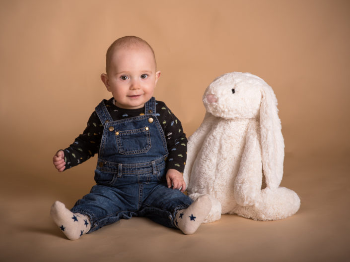 Baby photography in Kent, Jack and his rabbit