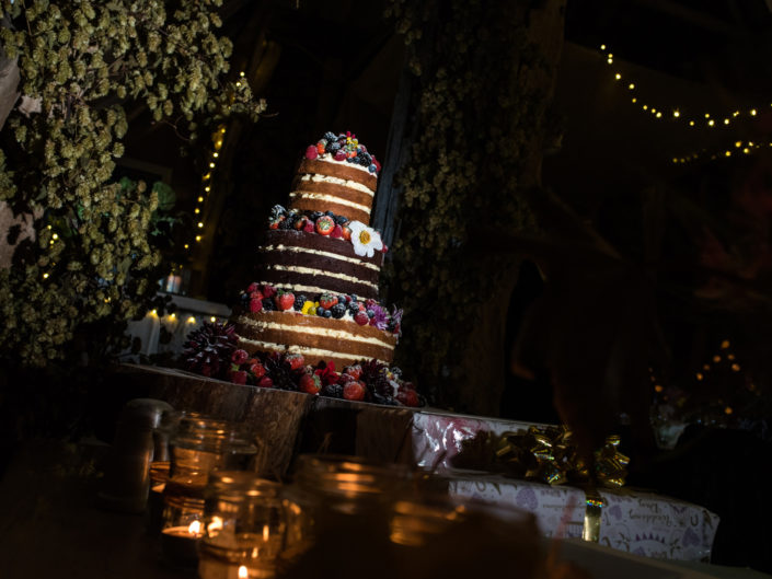 Photograph of wedding cake at jane and Stevens Kent barn reception
