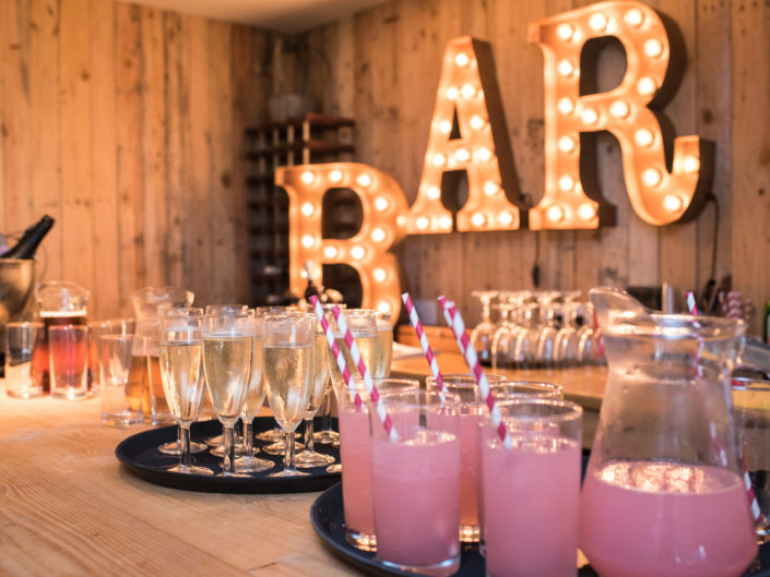 Photograph of the bar at Stevie and Lees wedding at Crown Lodge in Kent