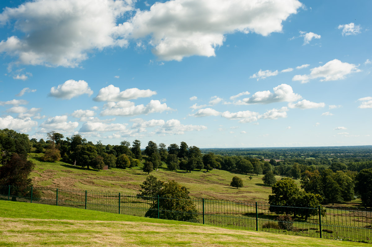 View from Boughton Monchelsea in Kent during Andrea and Matthews wedding day