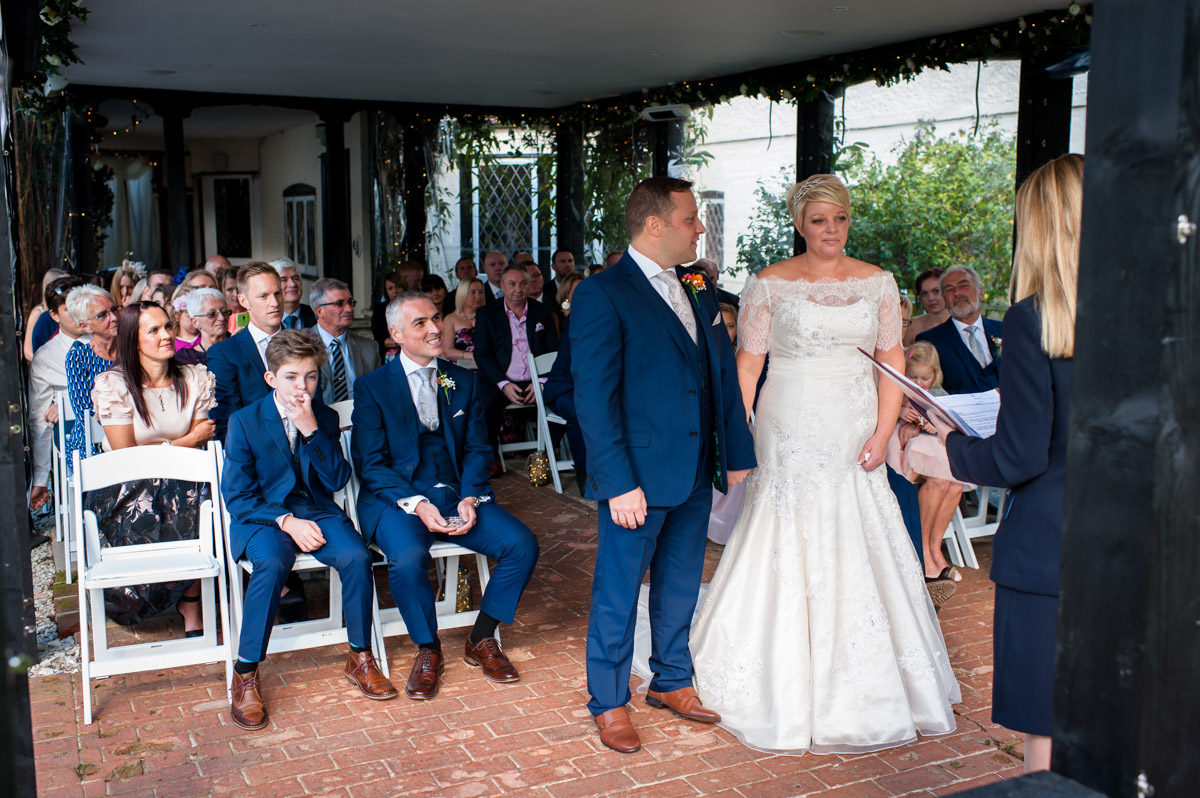 Stuart & Kellys ceremony at Hayne Barn House