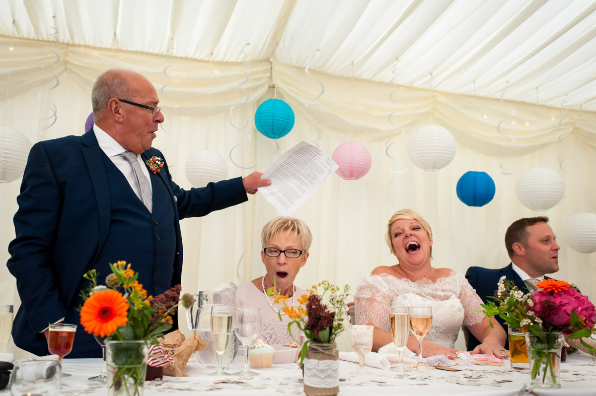 Speeches in marquee at Kelly and Stuarts wedding at Hayne Barn House, Kent