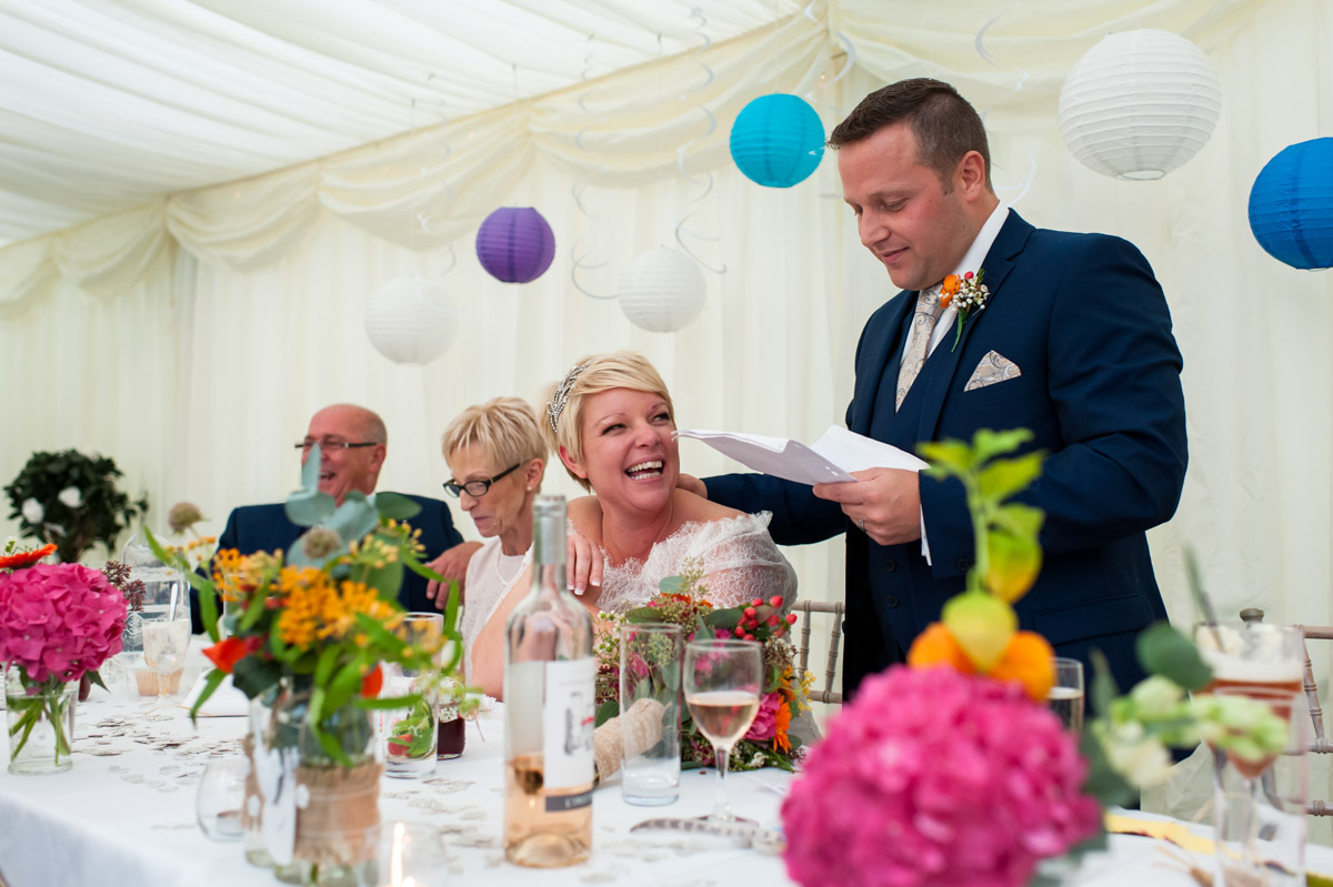 Groom makes his wedding speech at Hayne Barn House wedding reception