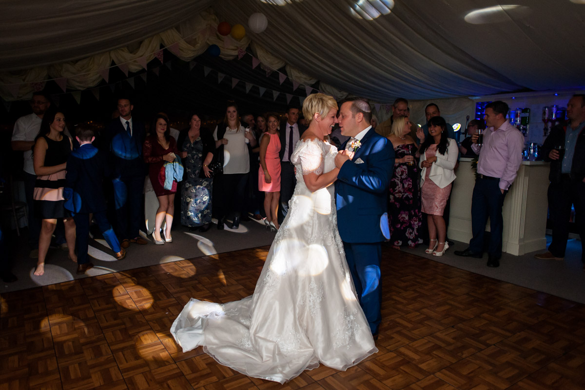Photograph of Kelly and Stuarts first dance at Hayne Barn House wedding