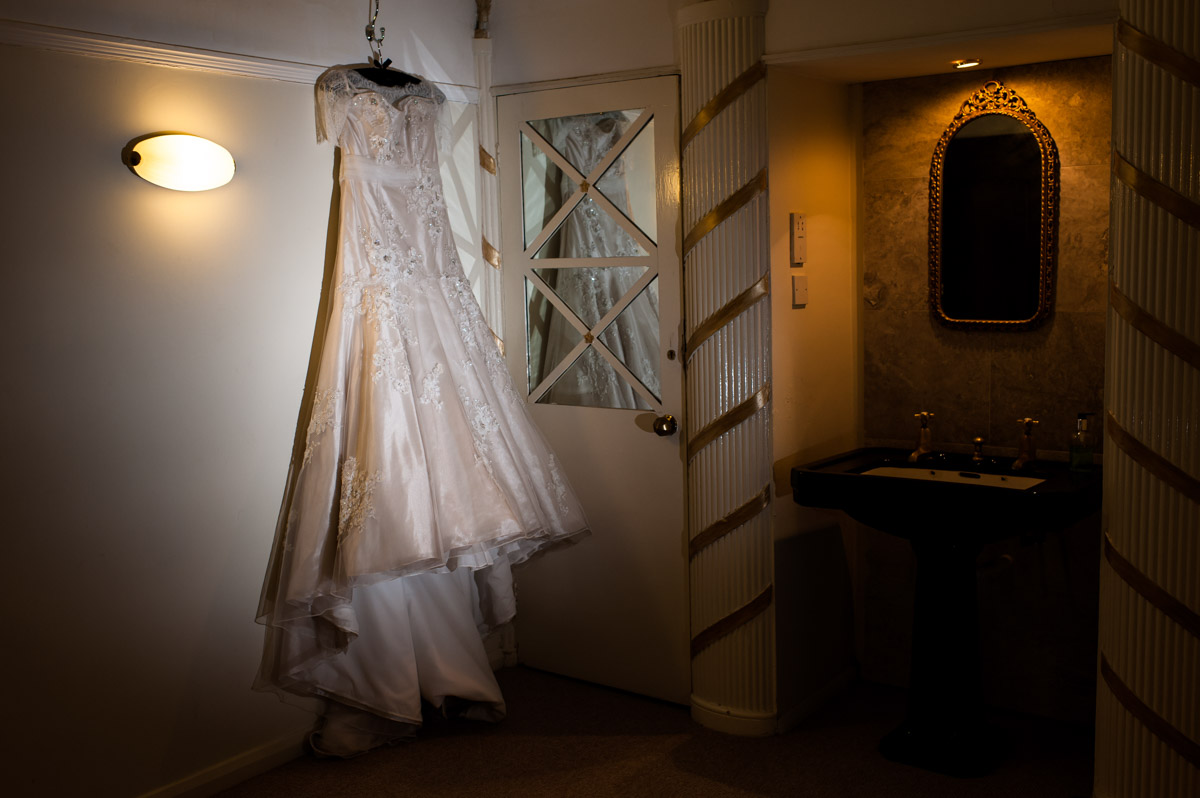 wedding dress at Hayne Barn House