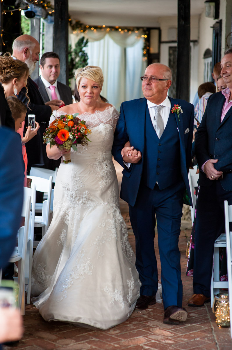 Father walks bride down aisle at Hayne Barn House